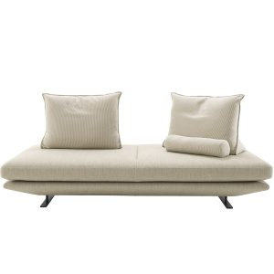 Pictured is Medium Settee with two back cushions and a bolster